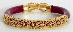 Gold Plated Red Bangle (Acrylic and Metal) Gold Bangles Design, Gold Earrings Designs, Gold Jewellery Design, Handmade Jewellery, 14k Gold Jewelry, Jewelry Sets, Beaded Jewelry, Bead Jewellery, Bridal Jewellery