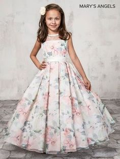 Long Floral Print Flower Girl Dress by Mary's Bridal Bridal Angels Collection-ABC Fashion Gowns For Girls, Frocks For Girls, Little Girl Dresses, Girls Dresses, Baby Girl Gowns, Dresses For Kids, Girls Designer Dresses, Hoco Dresses, Kids Outfits