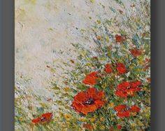 Flores silvestres textura pintura abstracta arte por NataSgallery