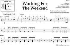 "The full drum sheet music for ""Working for the Weekend"" by Loverboy from the album Get Lucky Drum Sheet Music, Drums Sheet, Drum Key, Music Stand, Ready To Play, Pop Rocks, Your Music, You Are Awesome, Note"