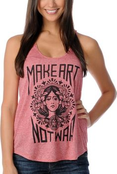 Obey Make Art Not War Red Girls Racerback Tank Top at Zumiez clothes-i-like