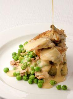 Chicken Supreme with Potato Rosti, Pea, Broad Bean & Bacon Fricassee & Tarragon Cream - Cambridge Dining Company www.cambridgedining.co.uk