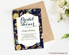 Custom Bridal Shower Invitation - Floral - Navy and Gold - DIY printing