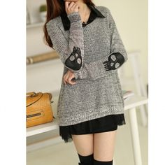 Two Peices Loose Stylish Women Skull Pullover Hollow Sweater Knitwear Cardigan NEW