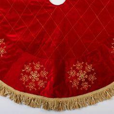 """54"""" Red Christmas Tree Skirt with Gold Snowflakes:  54"""" diameter,  Red velvet,  Golden snowflake and tassle design"""