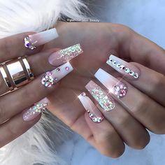 home decorhome decor - Summer Acrylic Nails Glam Nails, Bling Nails, Cute Nails, My Nails, Bling Nail Art, Bling Wedding Nails, Glitter Nails, Gold Glitter, Swarovski Nails
