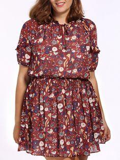 67edd0e71b465 Chic Plus Size Round Collar Bird And Flower Print Dress For Women