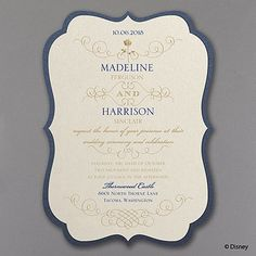 Love the story of Beauty and the Beast? This Disney Fairy Tale Wedding invitation inspired by Princess Belle captures the romance with layers and a hint of roses. Note: This product is intended solely for non-commercial consumer use. No License has been granted to use this product for any business or organizational purpose. Any such use is unauthorized and is specifically prohibited. This product cannot be personalized with any wording that refers to alcohol, firearms, profanity or any…