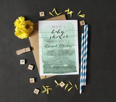 Mint Baby Shower Invitation Boy Printable by DesignAndDonuts