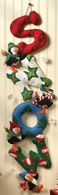 Bucilla Felt Applique Wall Hanging Kit SNOW Home Decor, could also be done in wood.