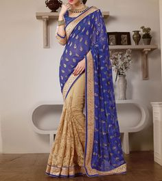 Blue And Beige Georgette Saree With Resham Embroidery And Cream Lace Border=Noorani $ 330  $ 99