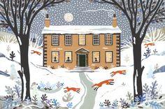 Winter Foxes, Haworth Parsonage  (cut paper collage)   Amanda White