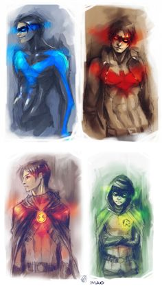 All four original Dick Grayson's identities. If u are wondering about the red one. There is a Red Nightwing and in Batman Under the Red Hood, Robin (Dick Grayson) was the Red Hood before Jason Todd