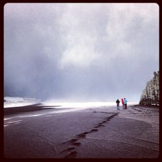 A perfect day in #Iceland: Snowing on the black beaches of Reynisdrangar