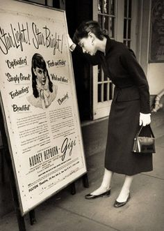 """Audrey Hepburn reading a promotional for her Broadway play """"Gigi"""""""