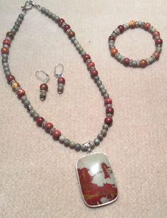 Red creek jasper and crazy horse jasper necklace bracelet and earrings
