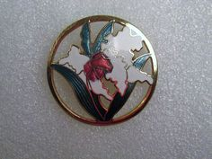 Vintage Enamel White Green Red Lilly Gold Tone Brooch