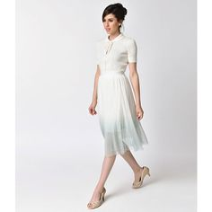 Retro Style White & Aqua Swiss Dot Ombre High Waist Midi Skirt ($48) ❤ liked on Polyvore featuring skirts, white high waisted skirt, calf length skirts, high waisted knee length skirt, white mesh skirt and midi skirt