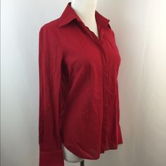 """Elie Tahari Textured Sheer Button Shirt Excellent condition. Hidden button closure. Extra button included. Thin cotton textured style fabric - sheer striped. SZ S. Color: red. Material: cotton. Approx measurements taken with item laying flat-no stretching-on one side. Bust(armpit to armpit): 18"""". Length: 26"""" not incl collar. Sleeve: 23"""". Shoulder: 14.5"""". Item:pma6.  🎀 1 business day handling - FAST SHIPPING. Elie Tahari Tops Button Down Shirts"""