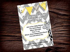 PERSONALIZED SHOWER INVITATION Yellow and by BlissfulBethDesigns, $10.00