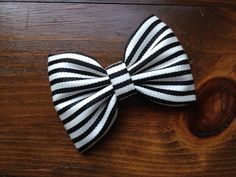 Local favorite.  Large black and white striped hair bow.  Perfect.  on Etsy, $6.00