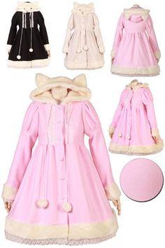 Lolita coat =O Yeah! Cat ear fur trim pink, cream or black winter coat.
