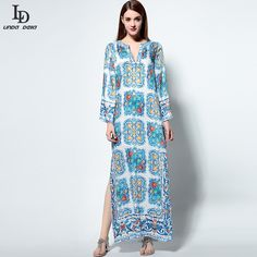 Runway Boho Beach Dress Womens Long Sleeve Noble Beading Casual Floral Print Maxi Long Dress