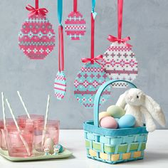 Create a set of 5 coordinating Easter Egg Ornaments to decorate this season. Change the colors to vary the look!