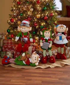 Set these Decorative Holiday Elves around your tree to wait for Santa.Set of 4 Christmas Elves 2 Ft. Tall Bendable Figures Festive Holiday Home Decor Add one of these charming Bendable for easy positioning. The legs bend so you can position them in a Diy Christmas Decorations Easy, Holiday Centerpieces, Christmas Tree Themes, Christmas Wreaths, Christmas Crafts, Christmas Ornaments, Centerpiece Ideas, Holiday Tree, Simple Christmas