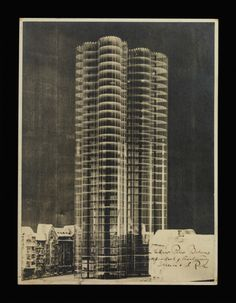 Howard Roark! - ludwig mies van der rohe, photomontage for a glass skyscraper for the friedrichstrasse competition, c. 1922