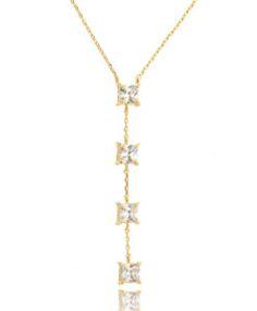 colar gravatinha folheado a ouro com zirconias quadradinha cristal semi joias da moda