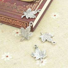HOT 50pcs/lot free shipping vintage tibetan silver charms diy metal maple leaf pendant for necklace jewelry making 23*15mm 21/7(China (Mainland))