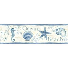 "Found it at Wayfair - Seaside Living Island Bay 15' x 6.83"" Seashells Wallpaper Border"