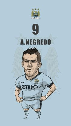"Manchester city fan art for mobile wallpaper ""Alvaro Negredo"""