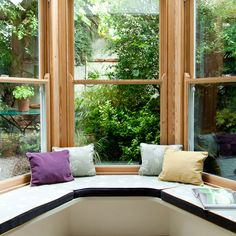 Utilise space in a small conservatory with a window seat. The perfect way to spend an afternoon with a book. Furniture Design Modern, Home, House Design, Home Stairs Design, Window Seat, Small Conservatory, Small Sunroom, Ideal Home, Small Hallways