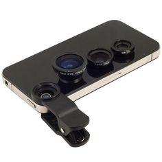 Universal Clip-On SmartPhone Lens 3-PACK (wide angle lens, macro lens, fisheye lens)