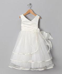 Look at this #zulilyfind! Ivory Tiered Satin Dress - Toddler & Girls #zulilyfinds