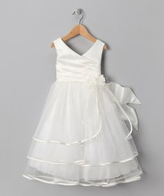 Another great find on #zulily! Ivory Tiered Satin Dress - Toddler & Girls #zulilyfinds