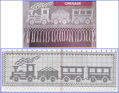Quatro modelinhos muito charmosos de barrados de crochê com gráficos, para decorar as toalhas da criançada.