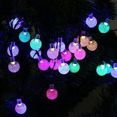 TOHUSE Outdoor Solar String Lights  Waterproof Christmas Globe Lighting Decorations for Garden Path Party Bedroom Decoration Size 20ft 30LED Color Rainbow -- You can find out more details at the link of the image. (Note:Amazon affiliate link)