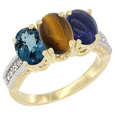 14K Yellow Gold Natural London Blue Topaz, Tiger Eye and Lapis Ring 3-Stone 7x5 mm Oval Diamond Accent, sizes 5 - 10 -- See this awesome image  : Jewelry Ring Bands