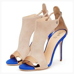 bc43af323e1 Amy Q Suede Open Toe Ankle Strap Buckle High Heels Summer Sandals For Casual  Women Shoes