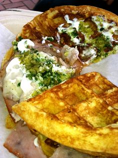 Want waffles for lunch? Use it as bread for a sandwich! This was from a food truck in SF, Brass Knuckle