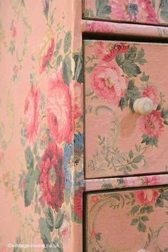 Vintage Home - Gorgeous Old Wallpaper Covered Cabinet: www.vintage-home....