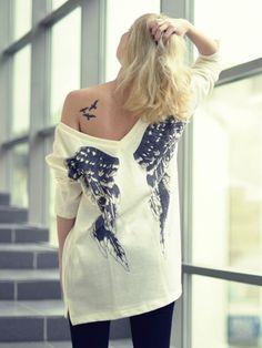 Loose Jumper,White Angel Wings