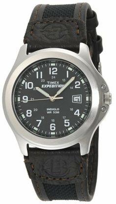 Timex Men's T40091 Expedition Metal Field Brown Nylon and Leather Strap Watch Timex. $33.11. Strong mineral crystal protects dial from scratches and scrapes. Indiglo® night-light. Gray Dial. Water-resistant to 165 feet (50 M). Genuine Leather and Nylon Strap