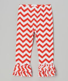 Red & White Zigzag Ruffle Pants - Infant, Toddler & Girls by Tutus by Tutu AND Lulu #zulily #zulilyfinds