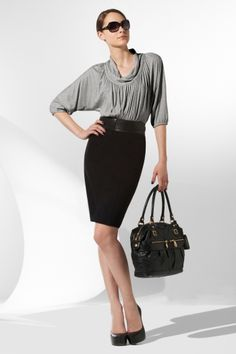 Smart #Work #Attire :) Grey and Black: #fashion #Idea for #Working #Women #Professional #Business