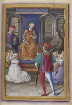 In a room with window decorations depicting Saint George, patron saint of the city, Genoa sits on a throne, surrounded by her children, Merchandise, People, and the Nobility (who had been expelled from the city in 1506). Jean Marot, Voyage to Genoa, BnF Français 5091, circa 1510-1520.