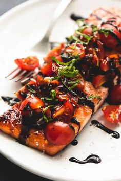 Quick and simple, honey balsamic bruschetta salmon has incredible flavors and requires just 30 minutes of hands-on cooking time. An instant favorite for salmon lovers! This is heaven on a plate I t Salmon Recipes, Fish Recipes, Seafood Recipes, Cooking Recipes, Healthy Recipes, Cooking Time, Gourmet Dinner Recipes, Honey Recipes, Dining